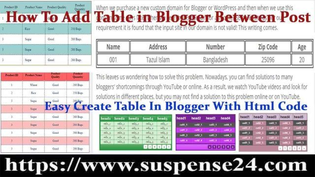 how To Add Table in Blogger Between Post