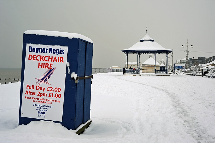 The promanade in the snow on the beach at Bognor Regis, West Sussex