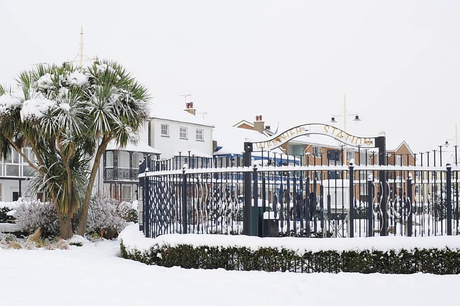 Bognor Regis Weather Station in the snow