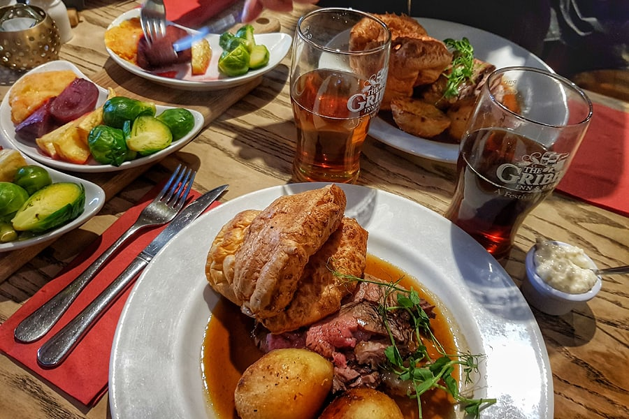 The fabulous Sunday roast dinner at the Gribble Inn in Oving near Chichester, West Sussex