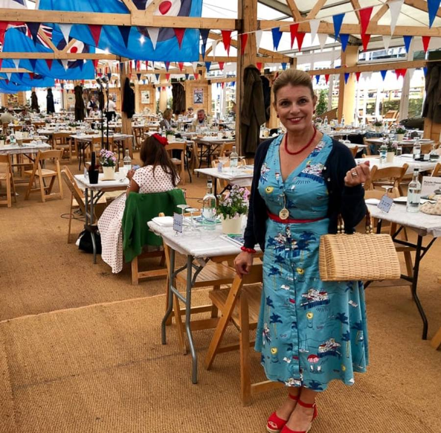 woman in Goodwood Revival outfit