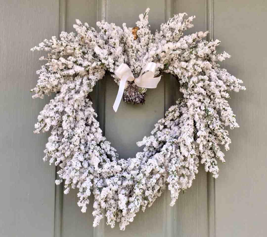 white Christmas wreath on door