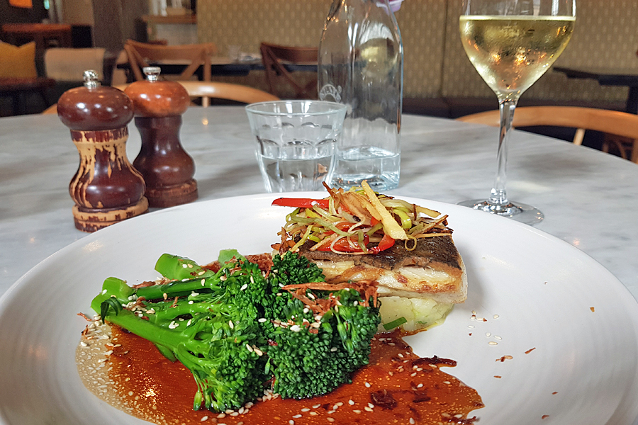 Stone Bass with ginger and lemongrass, Brasserie Blanc, Chichester