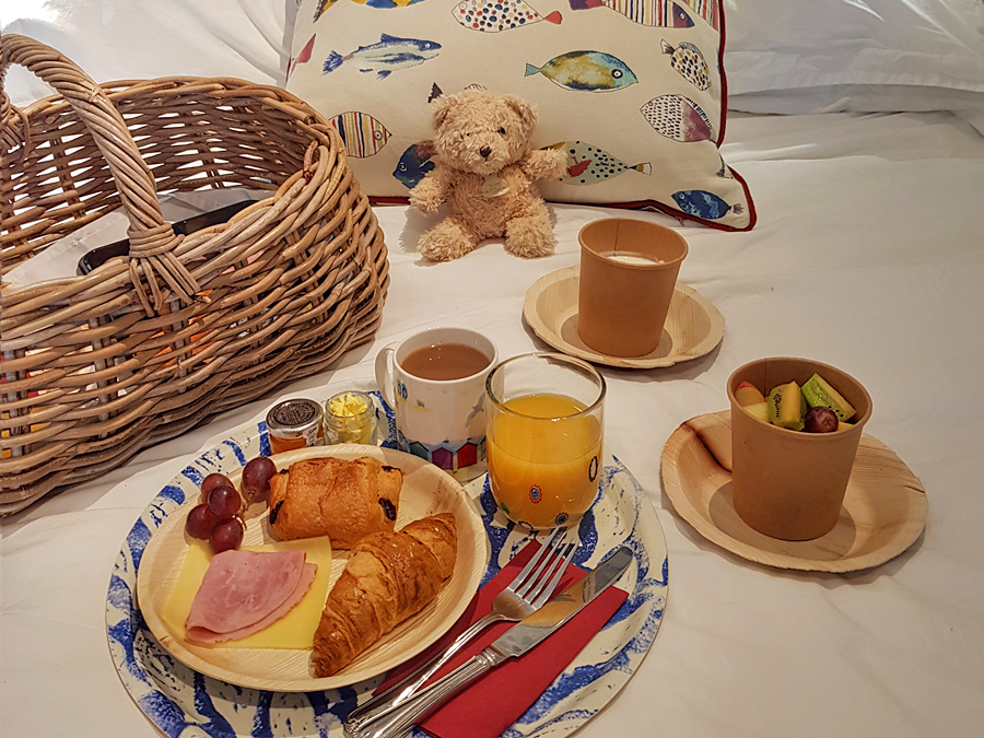 Breakfast in bed at the Beach Huts, West Sussex, UK