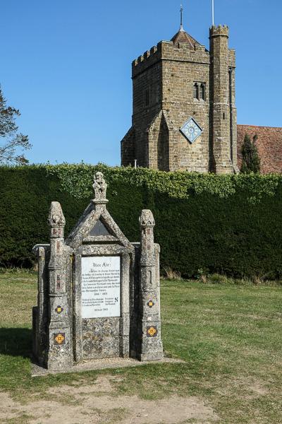 Stone marking where King Harold fell at Battle Abbey