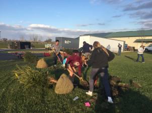 Culver students prepare holes for trees