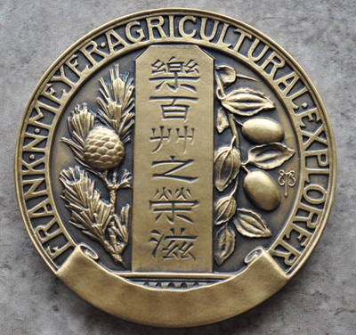 Gold colored medal with Frank N Meyer Agricultural Explorer engraving