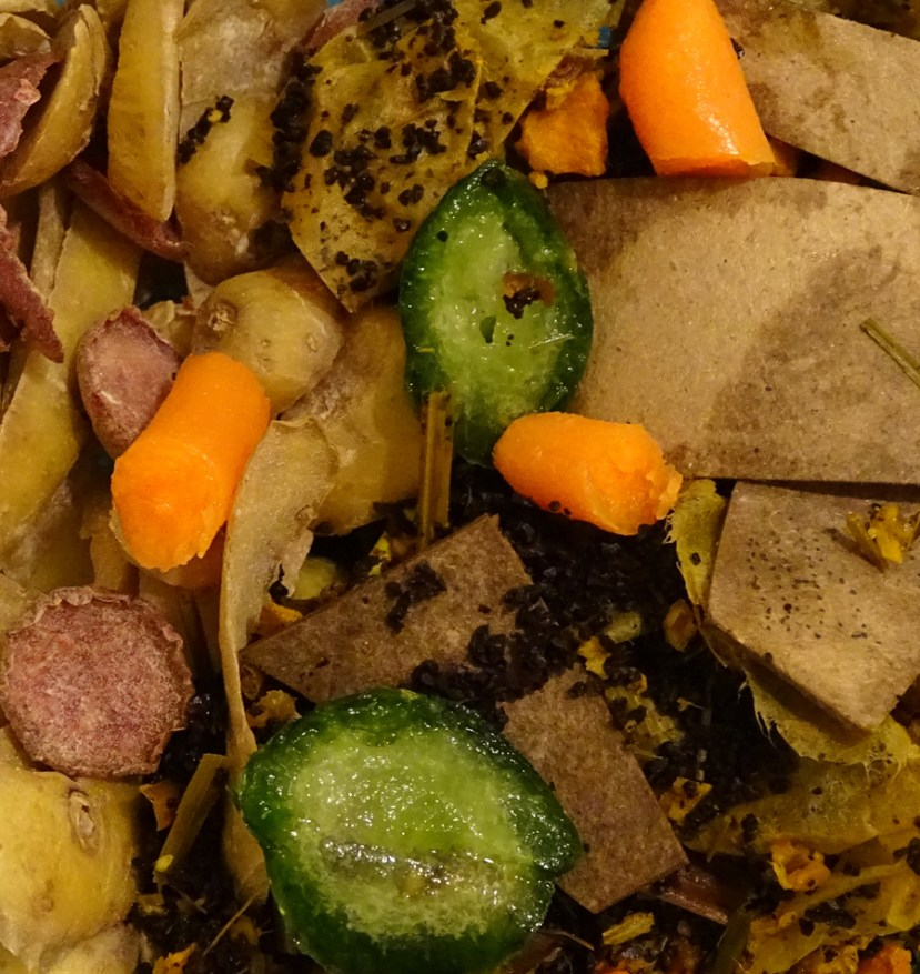 white and purple potatoes, cucumber, carrot, tea and coffee scraps to be composted