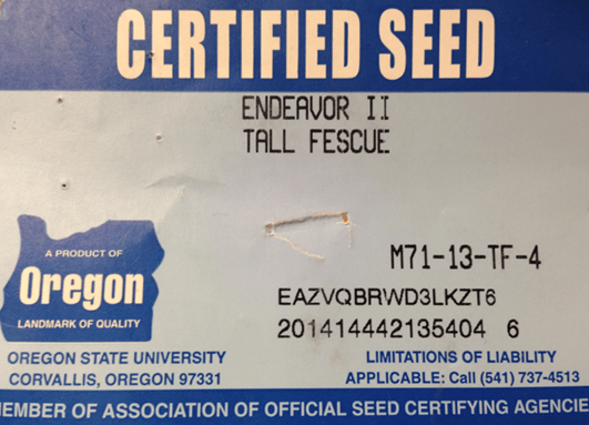 Certified seed label