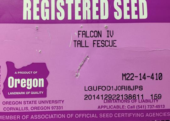 Registered seed label