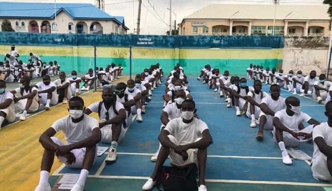 Applicants in sitting position during Police recruitment exercise in Kano