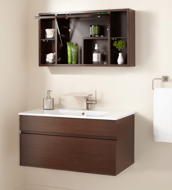 DIMITRI WALL-MOUNT VANITY AND MIRRORED STORAGE