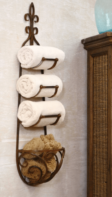 Tiered Towel Swinging Storage - Best hanging Bathroom storage Ideas