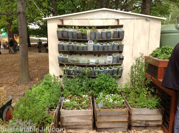 Gardening in crates and vertical garden of wicking pots made from milk bottles