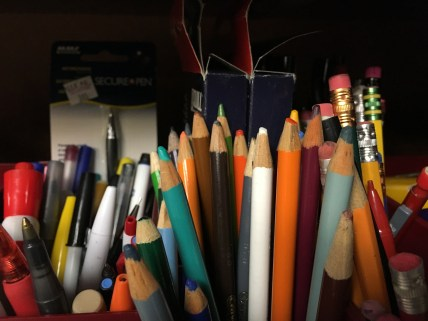 Many writing utensils for use in the Office Supply Share. (Image courtesy of The Sustainability Office)
