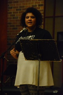 Knox student presenting spoken word on Friday evening. (Photo courtesy of Mitch Prentice.)