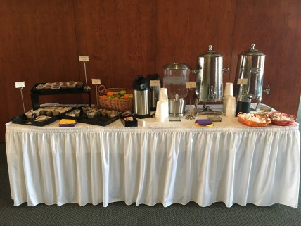 The refreshments table was well stocked throughout the conference. (Photo courtesy of Debbie Steinberg.)
