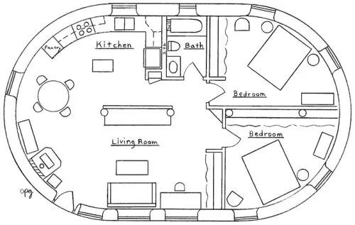 English earthbag cottage floor plan