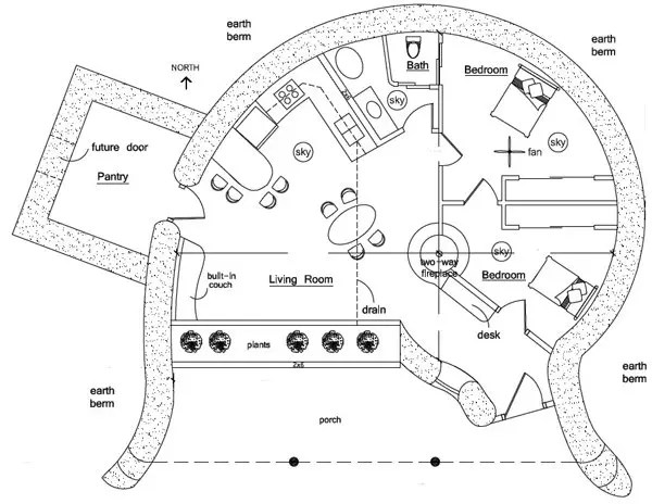 Spiral 2 Earthbag House Plan