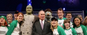 Mayor Bloomberg at the press launch of Broadway Goes Green.