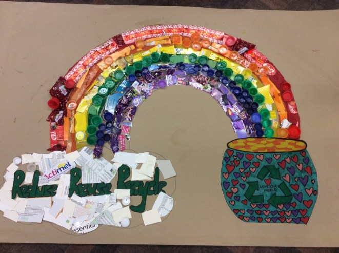 Making a rainbow from recycled materials