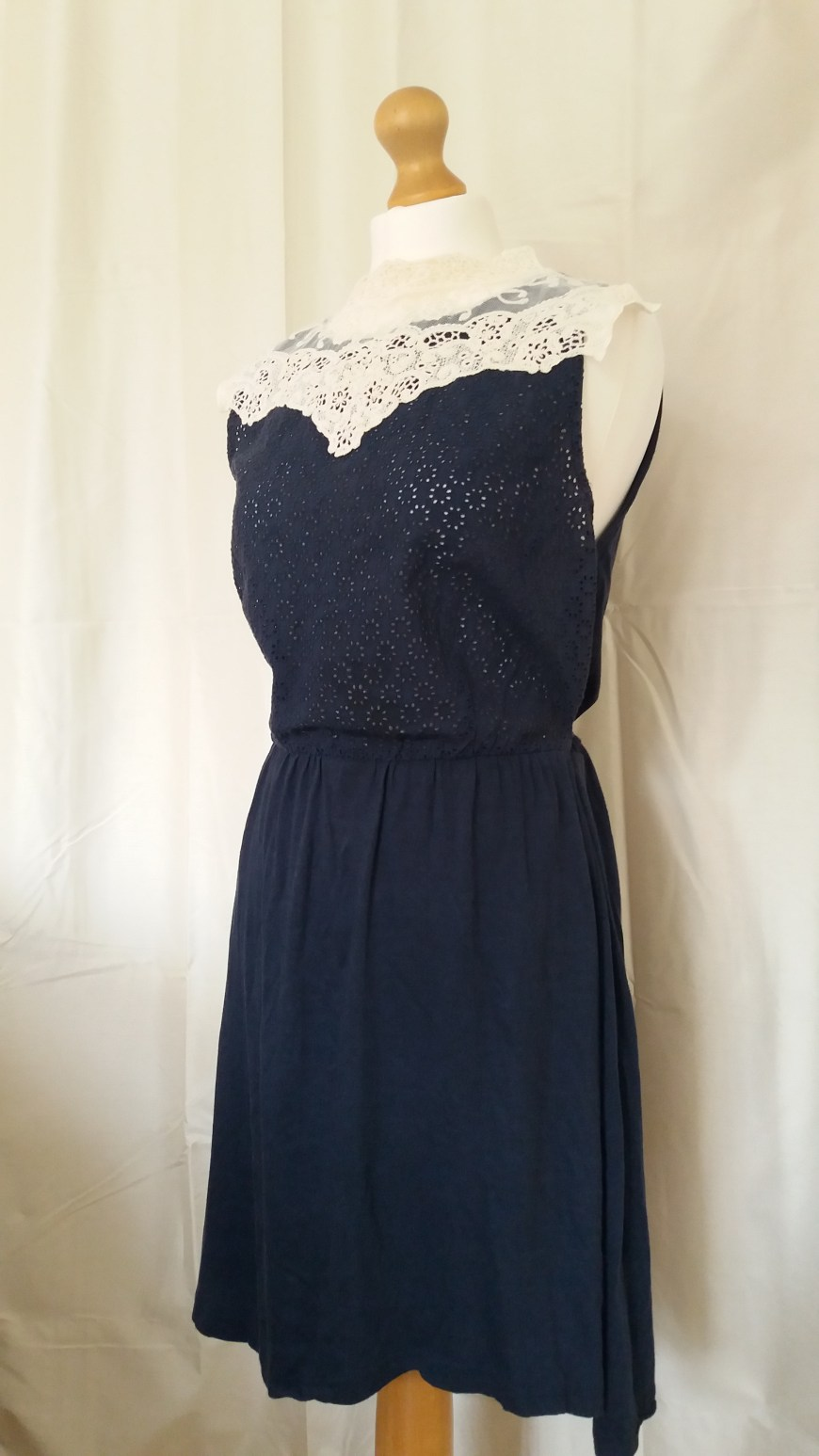 Emily Southcombe blog photo - navy cotton dress upcycled with ivory lace detail to the neckline