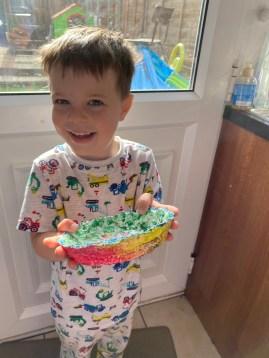 Lockdown competition - Josh age 5 with papier mache bowl 2