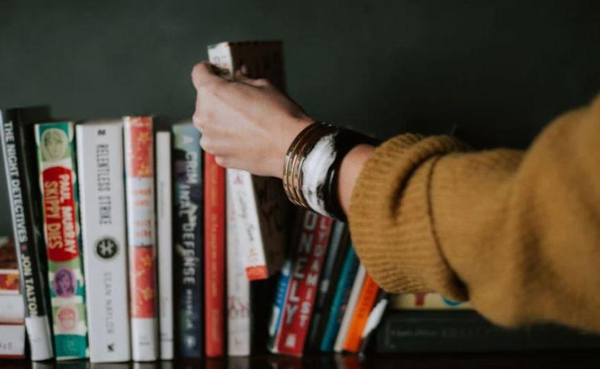 Bookshelf with sustainability books