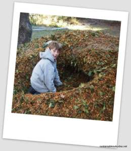 a pile of mulch with a hole dug out of the middle of it, and boy sitting in the hole, looking back at the camera