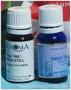 Tea Tree essential oil and Orange essentail oil, SustainableSuburbia.net