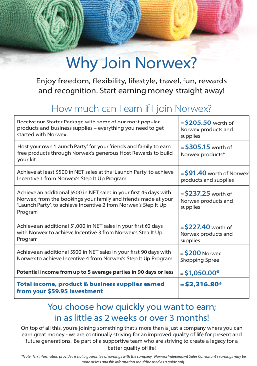 Why Join Norwex? Enjoy freedom, flexibility, lifestyle, travel, fun, rewards and recognition. Start earning money straight away! How much can you earn? | Sustainable Suburbia