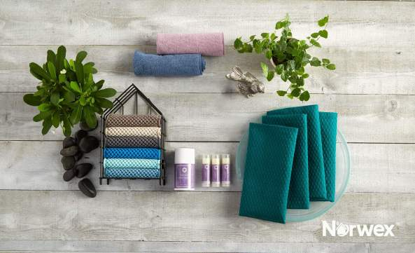 Norwex napkins in peacock, body cloths in lavender and denim, new counter cloths and new body balm and lip balms | SustainableSuburbia.net