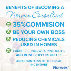Benefits of becoming a Norwex consultant, be your own boss, 35% commission, reducing chemicals in your home, free products and bonuses, free travel, change the world! | SustainableSuburbia.net