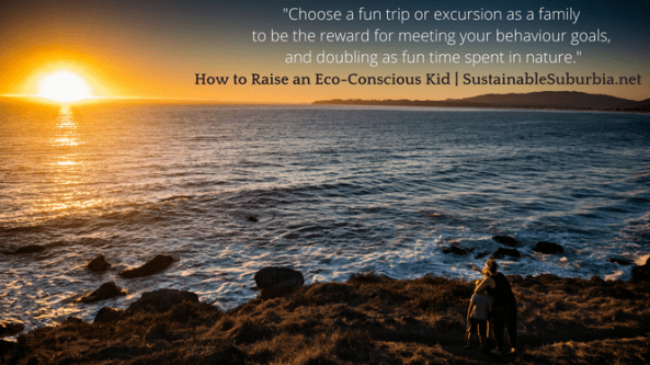 Choose a fun trip or excursion as a family to be the reward for meeting your behaviour goals, doubling as fun time spent in nature together | Now to Raise an Eco-Friendly Kid | SustainableSuburbia.net