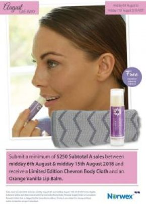 Norwex consultant incentive august 18 - Free lip balm and body cloth   SustainableSuburbia.net