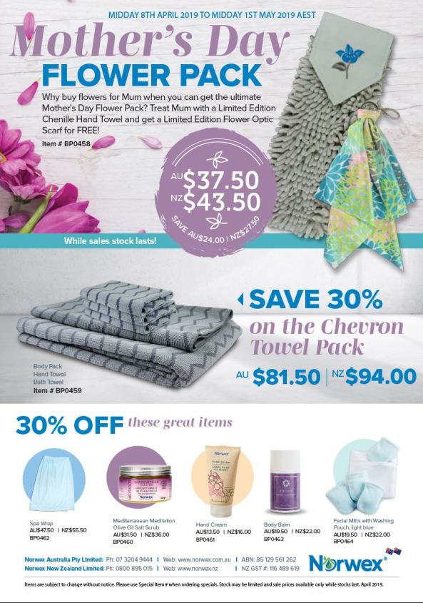 Norwex Australia Mother's Day Flower Pack and 30% off sale, midday 8th April to Midday 1st May, AEST. Why buy flowers for Mum when you can get the ultimate Mother's Day Flower Pack? Treat Mum with a Limited Edition Chenille Hand Towel and get a Limited Edition Flower Optic Scarf for FREE. While Stocks last!