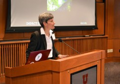 U of U Interim Chief Sustainability Officer Amy Wildermuth introduces the Earth U: Sustainability in Diversity Mentorship Dinner, an event aimed at bring new voices and ideas to the conversation.