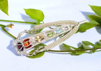 Chakra Gemstones in Sterling Silver Pendant