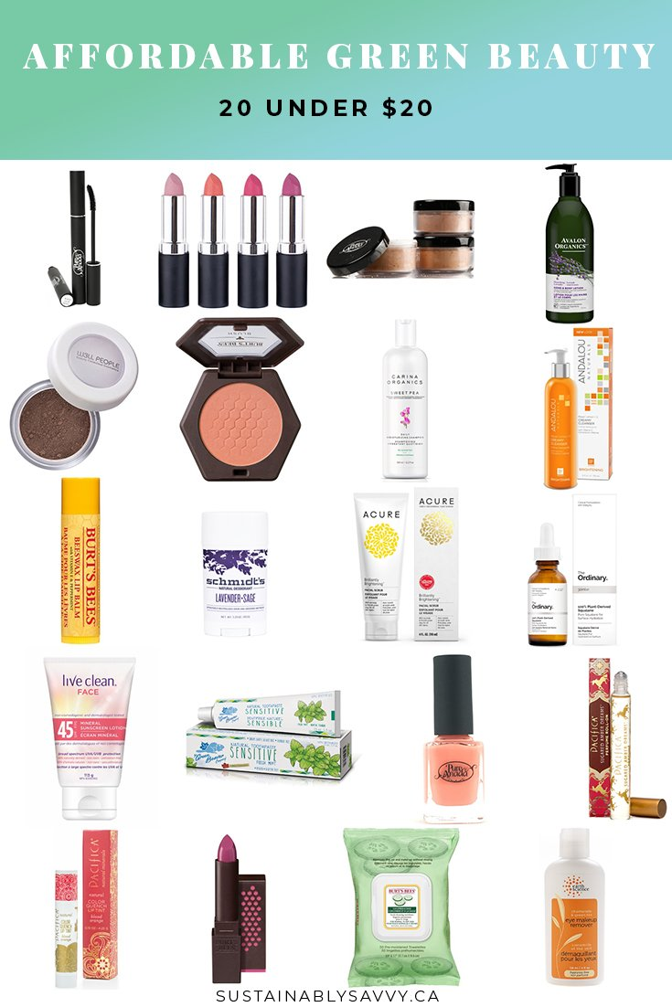 Affordable Green Beauty Products | 20 under $20