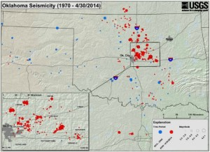 Oklahoma Earthquake Activity. Blue = 1970-2008, Red = 2009-2014 usgs.gov