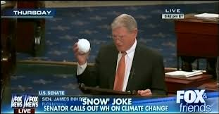 US Senator James Inhofe (R-OK) attempting to dispel climate change by showing that it snowed in Washington, DC in late February