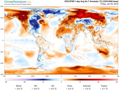 """Temperature Deviations from Normal During """"Bomb Cyclone,"""", 05-Jan-2018"""