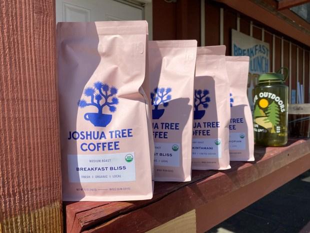 Coffee bags in the wild, Joshua Tree Coffee, hiking at Joshua tree first
