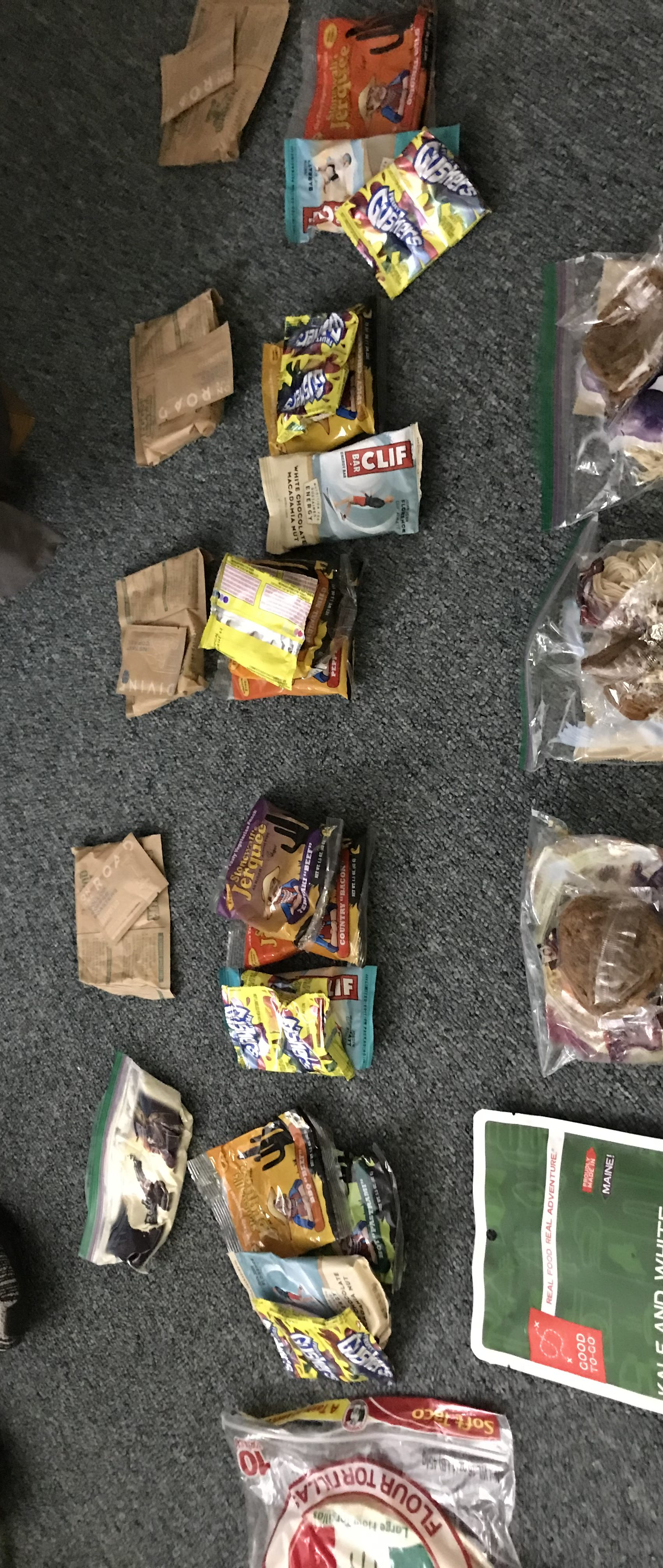 Revised food packed for backpacking