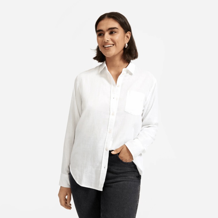 white button up plain t from everlane