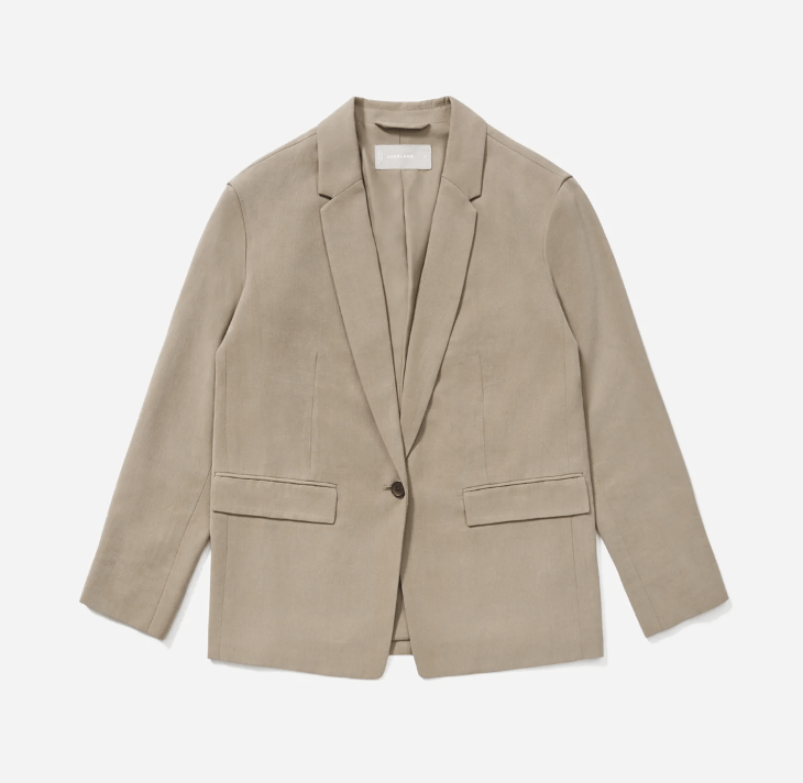 tan blazer made from lyocell