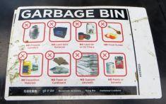Garbage bin sign