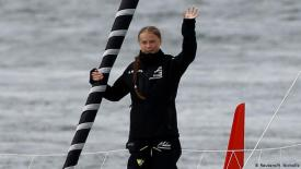 Greta Thunberg setting sail. Credit: Ben Stansall