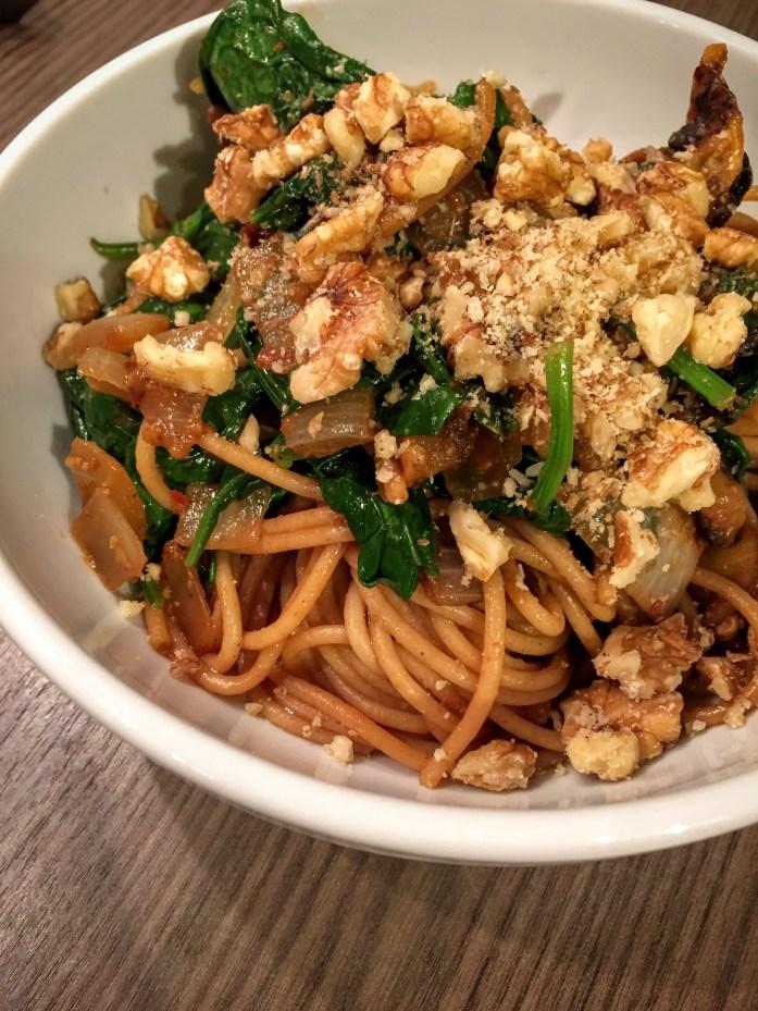 Roasted Pumpkin, Spinach and Walnut Spaghetti   Pumpkin Recipes   UK   Sarah Irving   Susty Meals