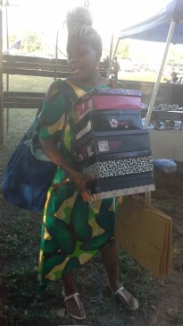 Local businesswoman Audrie Austin packs up to leave the market.